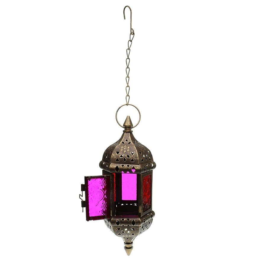 貞ビリーヤギ平和な鉄チェーン 吊り ガラス 燭台 キャンドルホルダー 全3色 - ブロンズ