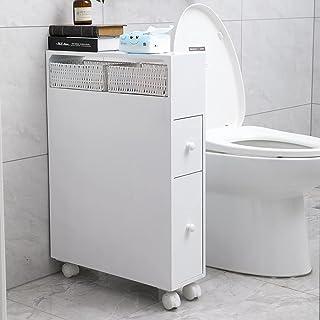 Bathroom Cabinets Storage Shelves Organizer for Toilet Essentials,2X PP Wicker Baskets-White