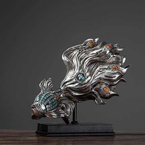 PDXGZ Resin Fish Statue Wealth Carp Treasure Good Fortune Lucky Auspicious Home Office Decor Collection Gift, Desk Table Top Dining Table Wine Cabinet Set Up Gifts,B