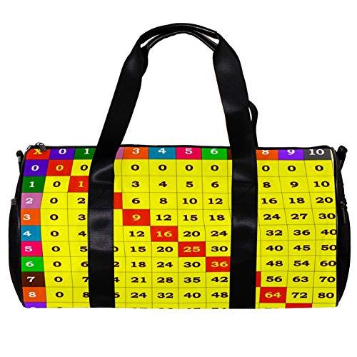 Bolsa de deporte redonda con correa de hombro desmontable multiplicación mesa de entrenamiento bolso de noche para mujeres y hombres