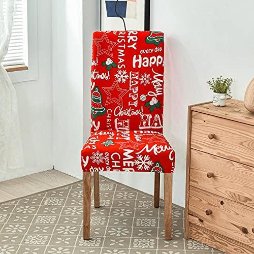 Fundas para sillas,Estrellas de Árbol de Navidad Verde Blanco Rojo,Fundas Elásticas Chair Covers Lavables Desmontables Cubiertas para Sillas Muy Fácil de Limpiar Duradera,Juego de 6 Piezas