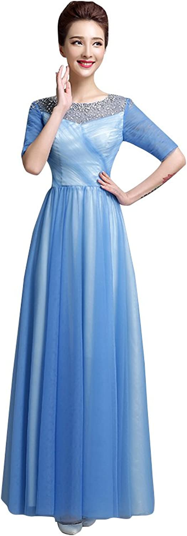 BeautyEmily Half Sleeve O Neck Rhinestone Pleated Bridesmaid Gowns Red