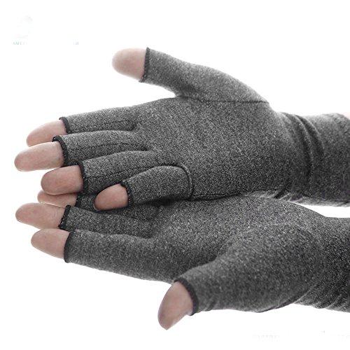 1 Paar Kompressions-Handschuhe Handschuhe zur Arthritisbehandlung, fingerlose Handschuhe für Herren & Damen Grau, Durchblutungsfördernd, Schmerzlindernd