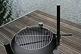 V Grillrosthalter für Feuerschalen + 40 cm chrome Grillrost Halter Grill Aufsatz Aufrüstsatz Metallhalter