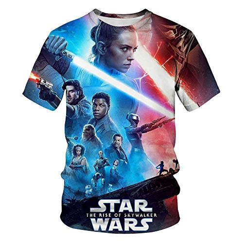 ZSWDBDysq 3D Short-Sleeved, Film Planet Digital Print Pullover Couple T-Shirt