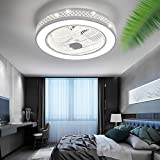 Ceiling Fan with Light, LED Remote Control 3-color Lighting Modes, Invisible Acrylic Blades Metal Shell Semi Flush Mount...
