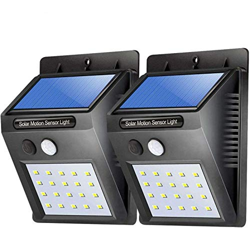 Airking 20 LED Outdoor Wireless Solar Powered Motion Sensor Wall Lamp for Home,Fitted Advanced Li-Poly Mobile Battery high Power Back up withstanding high Brightness Pack 2