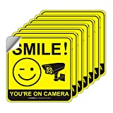 Smile You're on Camera Sign, 7 Pack 6x6 Inch ,Video Surveillance Signs, Security Camera Sign for Home, Business, Driveway Alert, CCTV Camera Sticker, Vandalism Robbery & Theft Prevention