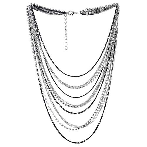 COOLSTEELANDBEYOND Schwarz Silber Wasserfall Multi-Schichten Kette Statement Halskette Kragen Halsband Anhänger mit Strass Kette Abendkleid