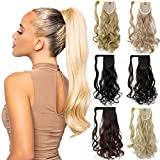 Ponytail Extension Clip in 18 20 Inch Long Wavy Straight Wrap Around Pony Tail One Piece Jaw/Claw Hairpiece for Women Grils Ash Blonde