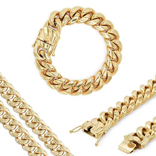 Beberlini - Collar de cadena de eslabones cubanos de oro de acero inoxidable para hombres y mujeres Dorado