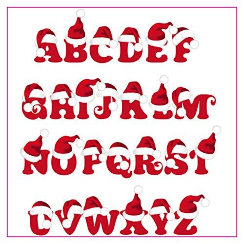 Koehope Clear Stempel Kerstmuts Alphabet Transparant stempel voor Kerstmis Bruiloft Kaartenmakerij Siliconen Postzegels DIY Scrapbooking Embossing Kaart Decor
