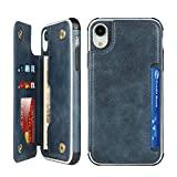 Cavor iPhone XR Case, Wallet Card Holder Case [4 Card Slots] [with Lanyard] PU Leather Flip Shockproof Cover for iPhone XR - Blue