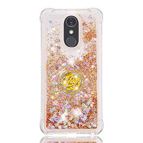 FAWUMAN Coque pour LG Stylo 4 / LG Q Stylus/LG Stylus 4,Brillante Cristal Diamant Anneau Socle de téléphone Liquide Dégradé Transparente Silicone TPU Étui Antichoc Coques (Couleur)
