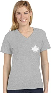 Canada Maple Leaf Pocket Print Canadian Patriotic V-Neck Fitted Women T-Shirt