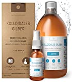 Kolloidales Silber 100% natürlich 40 PPM (1000 ml) ✅ Mit unentbehrlichem auffüllbarem 30ml-Spray und praktischem Messdeckel ✅ Hohe Konzentration,...