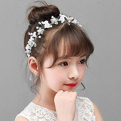 Campsis Cute Princess Wedding Headpiece White Flower Headband Pearl Wedding Hair Accessories for Girl and Women Bridal Wedding Tiaras for Flower Girl and Bridal.