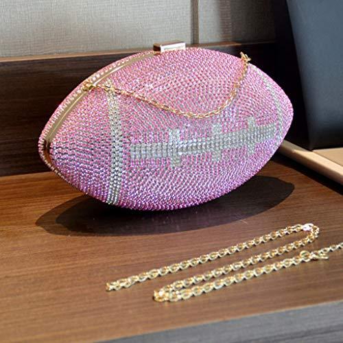 PHILSP Clutch Geldbörse Rugby Ellipse Ball Clutch Geldbörsen, für Frauen Abend Strass Handtaschen Party Bag Pink