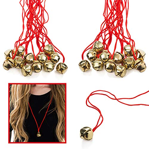 Jingle Bell Necklaces - 48 Pc - Bulk Christmas Necklaces - Gold Bell Necklaces - Funny Party Hats