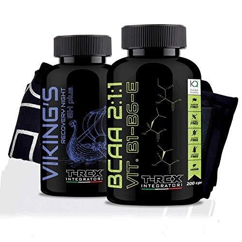Combo Crescita muscolare: Bcaa 2:1:1 200 compresse e Viking\'s GH boost 100 compresse a base di Glutammina, Arginina, Lisina, Ornitina AKG e Acido Aspartico
