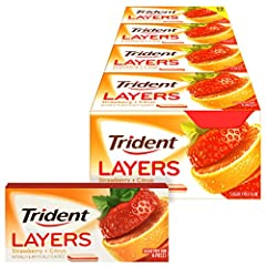 12 packs with 14 pieces each, 168 total pieces, of Trident Layers Strawberry & Citrus Sugar Free Gum Strawberry and citrus flavored sugar free chewing gum Quickly freshens mouth 50% fewer calories than sugared gum Has long lasting flavor and fights p...