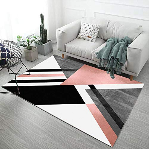 RUGMRZ Garden Rugs Large Gray pink large triangle pattern soft carpet anti-dirt and fade-free Outdoor Carpet Play Rug pink 140X200CM