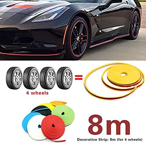 YMXDXTY 8m / Roll Car Color Color Color Rueda Remonte Protectores Decoración Franja de Neumático Línea Línea Moldeado de Caucho Recorte para Las 4 Ruedas (Color : Yellow)