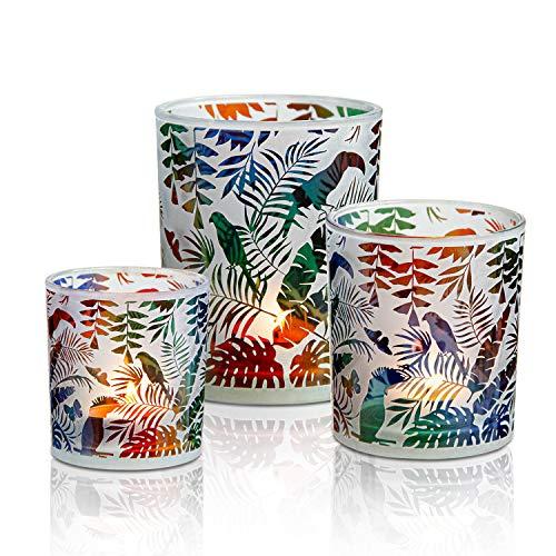 HOMMAX Teelichthalter 3 er Set, Windlicht aus Glas, Tropisches Dschungelmuster Kerzenhalter, Teelichtgläser für Tischdeko, Frühlingsdeko oder als Geschenk