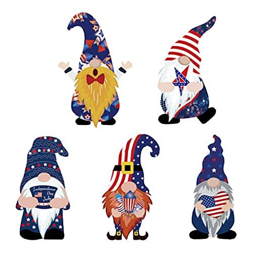 Lamdoo - 5 Carteles de gnomos patrióticos para Patio con estaca, decoración del día de la Independencia del 4 de Julio