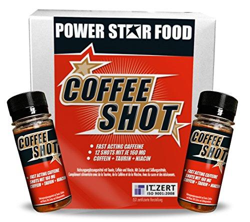 COFFEE SHOT - ENERGIE PUR - zur Setigerung der WACHHEIT & KONZENTRATION - für mehr FOKUS und POWER durch Koffein, Guarana, Taurin und Niacin - 12 Fläschchen à 60 ml