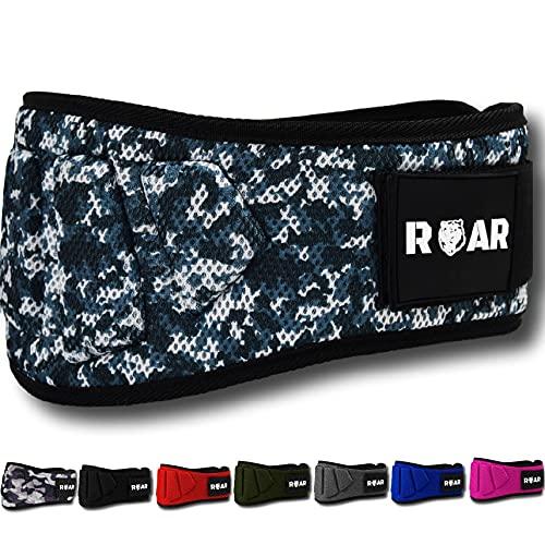 Roar® Profi Gewichthebergürtel - Fitness-Gürtel für Bodybuilding, Krafttraining, Gewichtheben und Crossfit Training, Powerlifting - Trainingsgürtel für Damen und Herren. (Tarnung, XS)