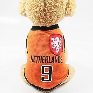 Romote pour animal domestique Vêtements Pet Vêtements pour animal domestique gilets avec le logo de pays, Préparé pour la coupe du monde de football Fan, convient pour animal domestique Costume pour chiens, chats, etc. Taille S