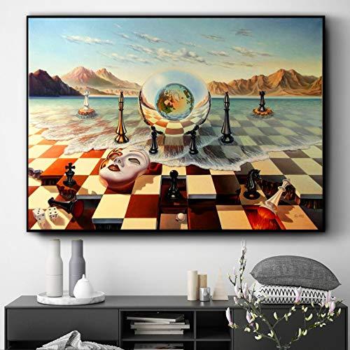NOVELOVE Wandkunst Bild Surrealismus Malerei Schach Poster HD Print Leinwand Malerei Geschenk Ohne Rahmen 42 * 60 cm