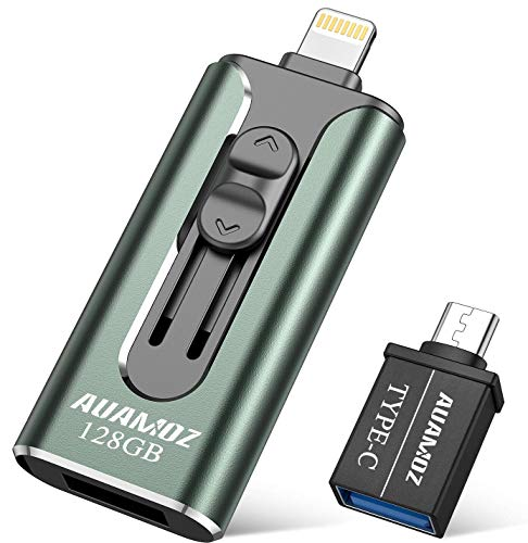 iPhone Flash Drive 128GB iPhone Photo Stick, AUAMOZ iPhone USB 3.0 Memory Photo Stick for iPhone 11 Pro X XR XS MAX, iPhone Flash Drive with 4 Ports Ready for iPhone/iPad/Android/Computer (Dark Green)