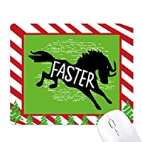 黒い馬動物のシルエットのナチュラル ゴムクリスマスキャンディマウスパッド