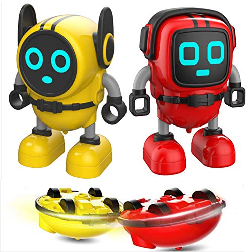 Aqiku 2 Packs Spinning Tops, Novelty Spin Tops Gyro Toy Multi-Functional Mini Robot Toys, Pull Back Car Toy, Wind Up Toys, Gyro Battling Game Tops for Kids
