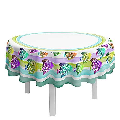 DAGOSTINO HOME - Tovaglia Acuarius L'Arte del Tavolo, 180 cm Rotondo per 6 posate, 100% cotone, trattamento antimacchia, disegno dipinto a mano.