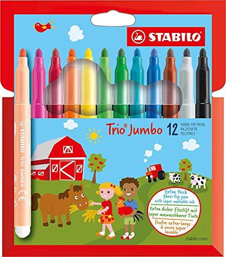 Pennarellone super lavabile - STABILO Trio Jumbo - Astuccio da 12 - Colori assortiti
