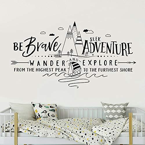 LKJHGU Mountain Adventure Citazioni Famose Brave Seeking Adventure Walking And Exploration Travel Vinyl Wall Stickers Beautiful Girls Girls