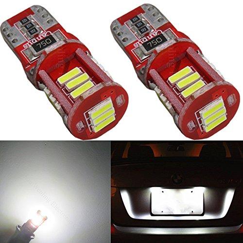Wljh 2x W5W 194 168 T10 AMPOULE LED Blanc 6000K 5W 4014 Chipsets ampoules LED Canbus SANS ERREUR pour voiture dôme de plaque d'immatriculation carte lecture libre de stationnement SID Feux de gabarit
