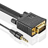 MutecPower 10m Cable de Monitor S/VGA Macho a Macho por el Gato 3.5mm de Audio y vídeo proyector, televisión de Alta definición y Pantalla - Alta Resolución 10 Metros de Cable