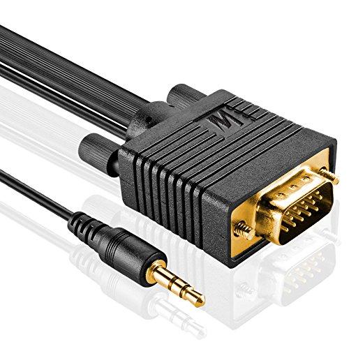 MutecPower 10m Cavo del Monitor S/VGA Maschio a Maschio con Jack 3.5mm Audio Video Stereo per Proiettori, HDTV e Display - Cavo ad Alta risoluzione 10 Metri