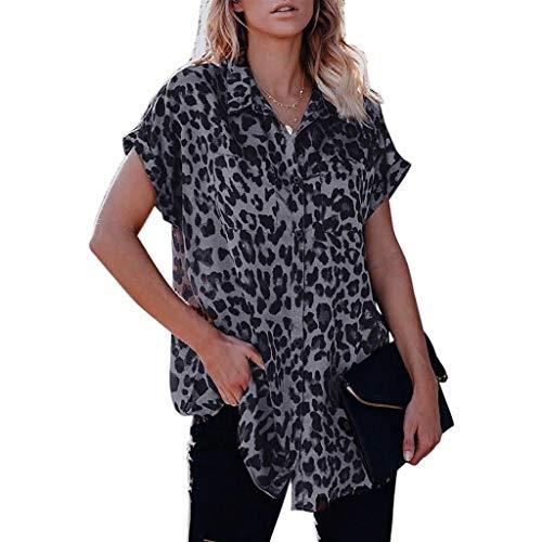 Auifor dames T-shirt met korte mouwen met luipaardpatroon, knopen casual losse blouse met V-hals
