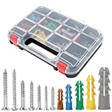 HongWay 370pcs Plastic Wall Anchors Kit with Screws, Includes 5 Different Size Anchors and...