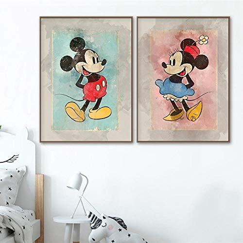 WSHIYI Mickey y Minnie Classic Cartoon Vintage Posters Impresiones Regalo Adolescente Acuarela Arte de la Pared Lienzo Cuadro Decoración Infantil / 50x70cmx2 (19.7x27.6 Pulgadas) Sin Marco