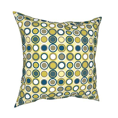 Funda de cojín para sofá, decoración para el hogar, diseño de círculos blancos, color azul, amarillo, marrón, blanco, 45,7 x 45,7 cm