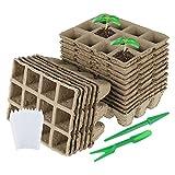 17 Pz 12 Griglie Vasi Biodegradabili Quadrate Vassoi per Semina in Fibra Biodegradabile per Piantine Griglie Polpa per torba per Giardinaggio Vasetti Biodegradabili per Trapianti per Semina