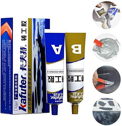 Resistencia al calor industrial Pasta de reparación de metal para soldadura en frío, gel adhesivo A&B Metal blanco, adhesivo estructural acrílico de secado rápido (1 set)