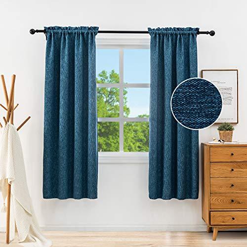 Anjee Linen Blackout Curtains 38x45 Inches Rod Pocket Room Darkening Light Blocking Burlap Window Curtains Drapes Treatments for Bedroom Living Room Kitchen Door, 2 Panels, Navy Blue