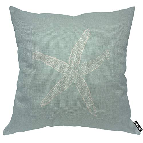 AOYEGO White Starfish Throw Pillow Cover Ocean Wildlife Sketch Granular Tube Feet Tentacle Sea Nature Cyan Pillow Case 18x18 Inch Decorative Men Women Boy Girl Room Cushion Cover for Home Couch Bed